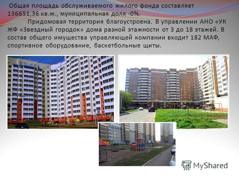 Общая площадь обслуживаемого жилого фонда составляет 136651,36 кв.м., муниципальная доля -0%. Придомовая территория благоустроена. В управлении АНО «УК ЖФ «Звездный городок» дома разной этажности от 3 до 18 этажей. В состав общего имущества управляющ