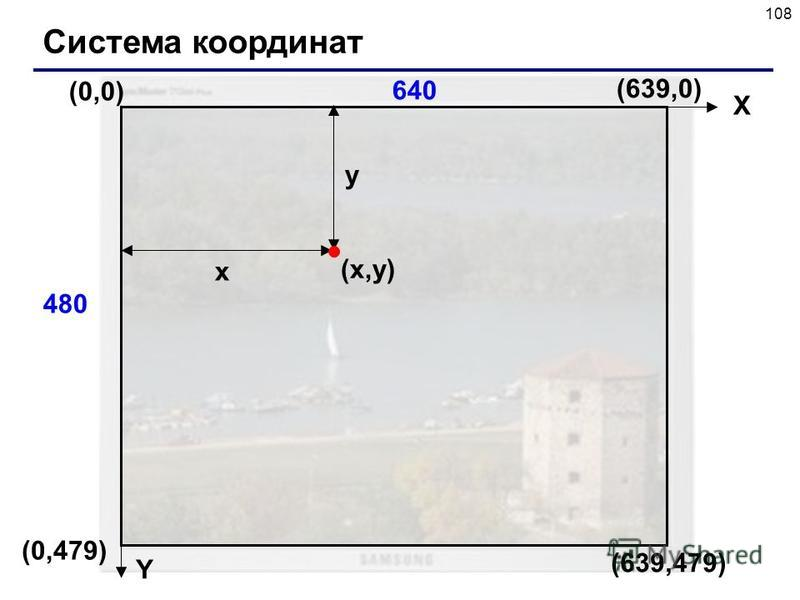 108 Система координат (0,0) (x,y)(x,y) X Y x y 640 480 (639,479) (639,0) (0,479)