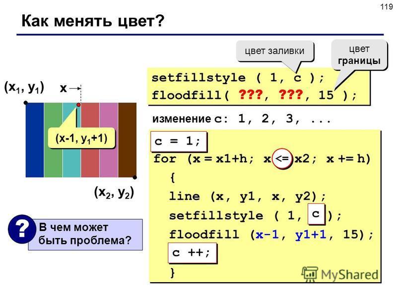 119 Как менять цвет? (x 1, y 1 ) (x 2, y 2 ) setfillstyle ( 1, c ); floodfill( ???, ???, 15 ); setfillstyle ( 1, c ); floodfill( ???, ???, 15 ); цвет заливки изменение c: 1, 2, 3,... x (x-1, y 1 +1) for (x = x1+h; x <= x2; x += h) { line (x, y1, x, y