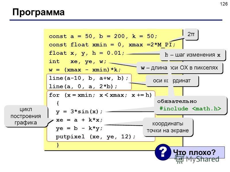 126 Программа const a = 50, b = 200, k = 50; const float xmin = 0, xmax =2*M_PI; float x, y, h = 0.01; int xe, ye, w; w = (xmax - xmin)*k; line(a-10, b, a+w, b); line(a, 0, a, 2*b); for (x = xmin; x < xmax; x += h) { y = 3*sin(x); xe = a + k*x; ye =