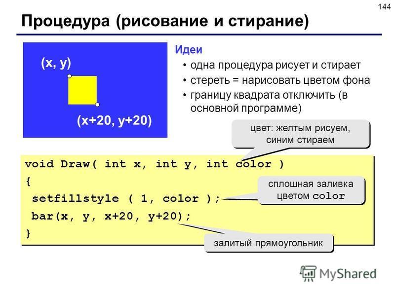 144 Процедура (рисование и стирание) void Draw( int x, int y, int color ) { setfillstyle ( 1, color ); bar(x, y, x+20, y+20); } void Draw( int x, int y, int color ) { setfillstyle ( 1, color ); bar(x, y, x+20, y+20); } (x, y) (x+20, y+20) Идеи одна п