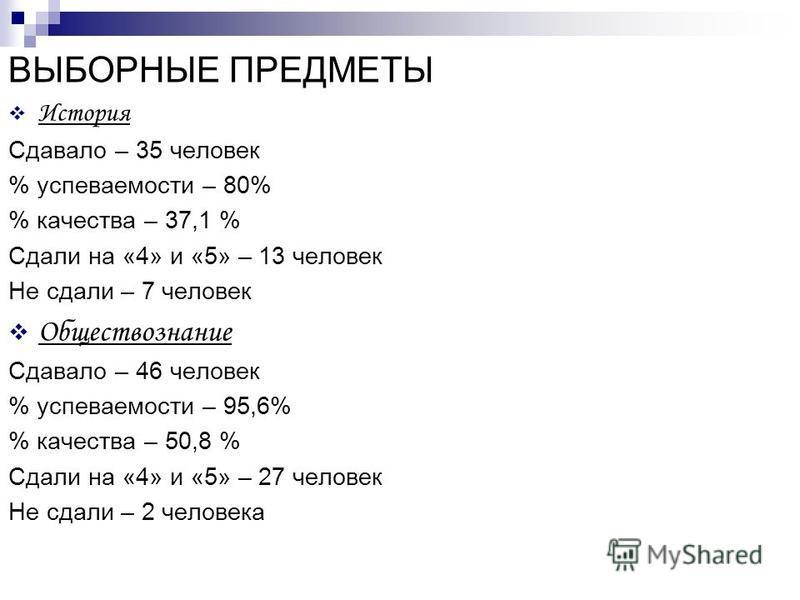 ВЫБОРНЫЕ ПРЕДМЕТЫ История Сдавало – 35 человек % успеваемости – 80% % качества – 37,1 % Сдали на «4» и «5» – 13 человек Не сдали – 7 человек Обществознание Сдавало – 46 человек % успеваемости – 95,6% % качества – 50,8 % Сдали на «4» и «5» – 27 челове