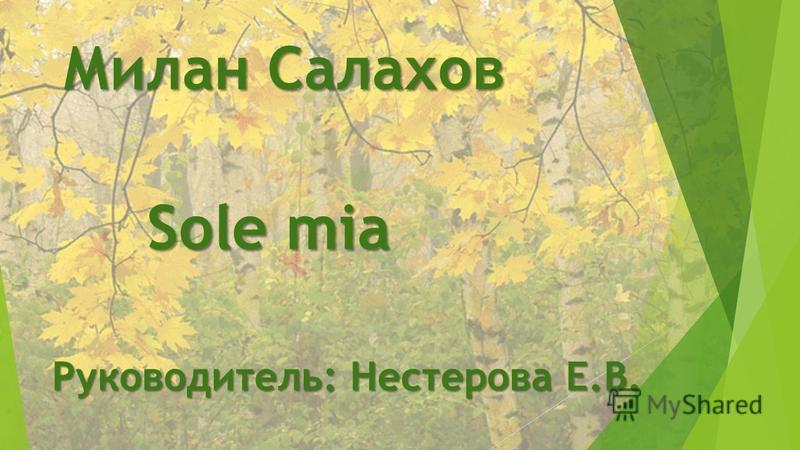 Милан Салахов Руководитель: Нестерова Е.В. Sole mia