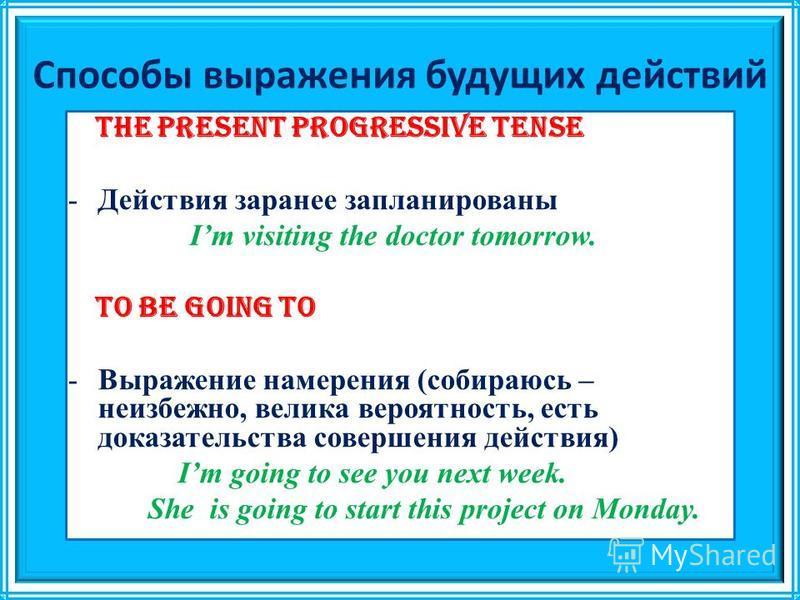 Способы выражения будущих действий The Present Progressive tense -Действия заранее запланированы Im visiting the doctor tomorrow. To be going to -Выражение намерения (собираюсь – неизбежно, велика вероятность, есть доказательства совершения действия)