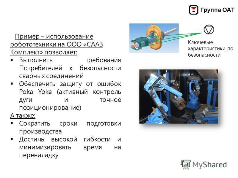 Группа ОАТ Пример – использование робототехники на ООО «СААЗ Комплект» позволяет: Выполнить требования Потребителей к безопасности сварных соединений Обеспечить защиту от ошибок Poka Yoke (активный контроль дуги и точное позиционирование) А также: Со