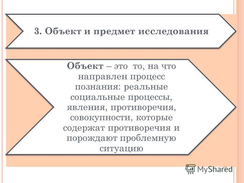 3. Объект и предмет исследования Объект – это то, на что направлен процесс познания: реальные социальные процессы, явления, противоречия, совокупности, которые содержат противоречия и порождают проблемную ситуацию