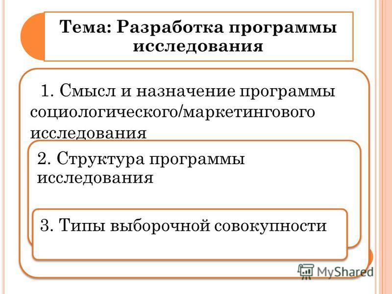 Тема: Разработка программы исследования 1. Смысл и назначение программы социологического/маркетингового исследования 2. Структура программы исследования 3. Типы выборочной совокупности