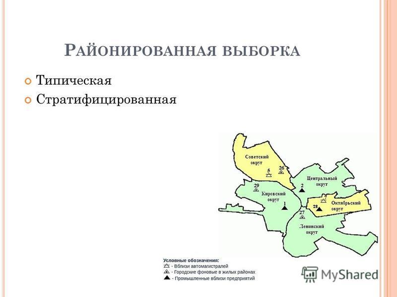 Р АЙОНИРОВАННАЯ ВЫБОРКА Типическая Стратифицированная