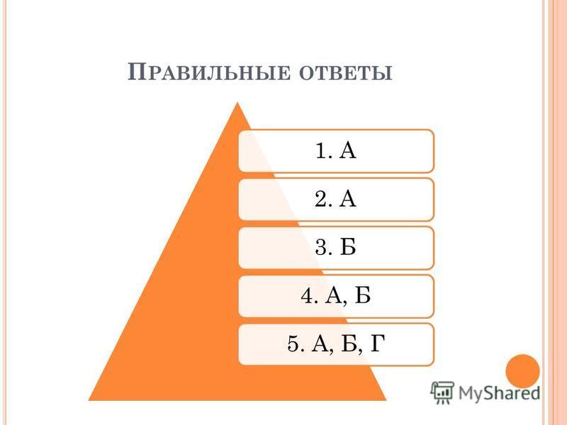 П РАВИЛЬНЫЕ ОТВЕТЫ 1. А2. А3. Б4. А, Б5. А, Б, Г