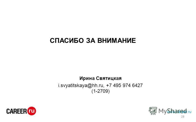 СПАСИБО ЗА ВНИМАНИЕ www.career.ru 28 Ирина Святицкая i.svyatitskaya@hh.ru, +7 495 974 6427 (1-2709)