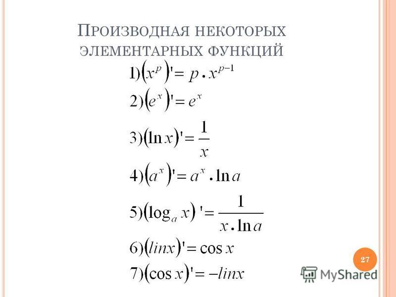 П РОИЗВОДНАЯ НЕКОТОРЫХ ЭЛЕМЕНТАРНЫХ ФУНКЦИЙ 27