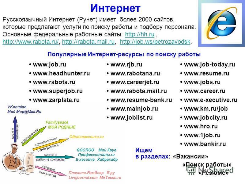 Интернет Русскоязычный Интернет (Рунет) имеет более 2000 сайтов, которые предлагают услуги по поиску работы и подбору персонала. Основные федеральные работные сайты: http://hh.ru,http://hh.ru http://www.rabota.ru/http://www.rabota.ru/, http://rabota.