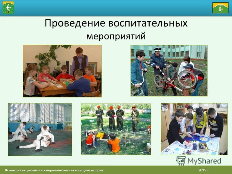Комиссия по делам несовершеннолетних и защите их прав 2015 г. Проведение воспитательных мероприятий