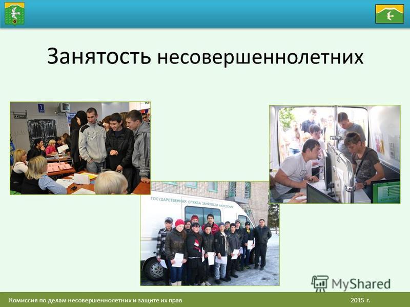 Комиссия по делам несовершеннолетних и защите их прав 2015 г. Занятость несовершеннолетних