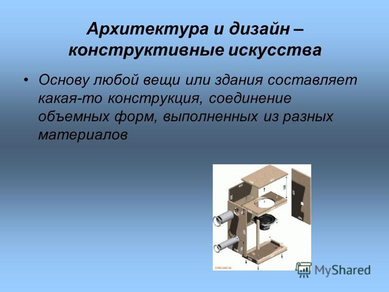 Архитектура и дизайн – конструктивные искусства Основу любой вещи или здания составляет какая-то конструкция, соединение объемных форм, выполненных из разных материалов