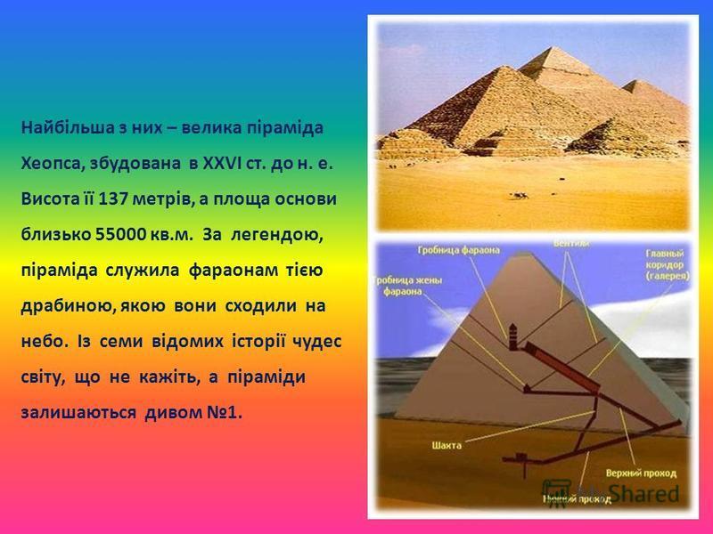 Найбільша з них – велика піраміда Хеопса, збудована в ХХVІ ст. до н. е. Висота її 137 метрів, а площа основи близько 55000 кв.м. За легендою, піраміда служила фараонам тією драбиною, якою вони сходили на небо. Із семи відомих історії чудес світу, що