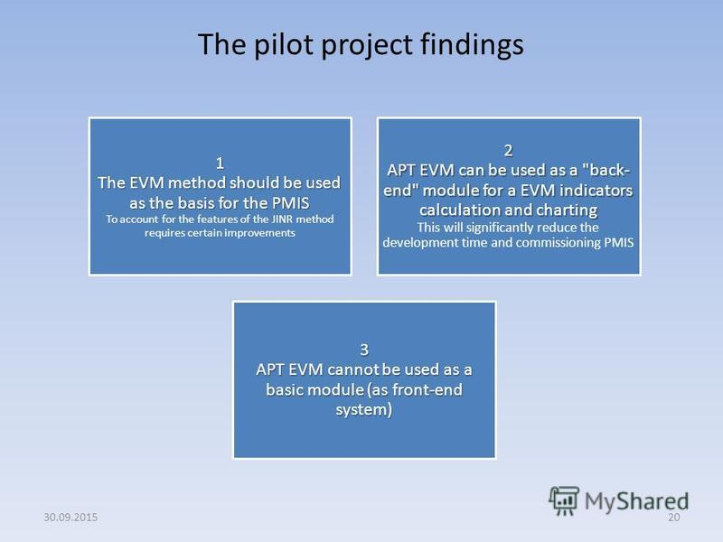 The pilot project findings 20 1 The EVM method should be used as the basis for the PMIS 1 The EVM method should be used as the basis for the PMIS To account for the features of the JINR method requires certain improvements 2 APT EVM can be used as a
