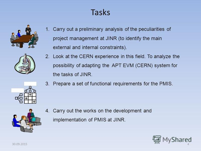 Tasks 4 1. Carry out a preliminary analysis of the peculiarities of project management at JINR (to identify the main external and internal constraints). 2. Look at the CERN experience in this field. To analyze the possibility of adapting the APT EVM