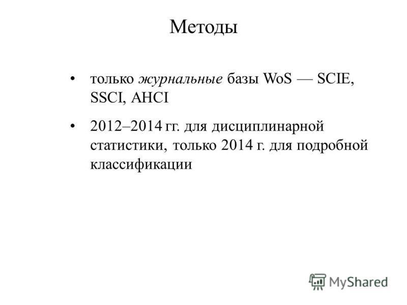 только журнальные базы WoS SCIE, SSCI, AHCI 2012–2014 гг. для дисциплинарной статистики, только 2014 г. для подробной классификации Методы