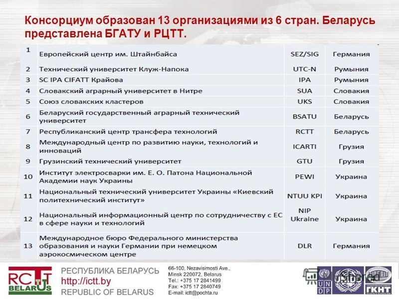 Консорциум образован 13 организациями из 6 стран. Беларусь представлена БГАТУ и РЦТТ. 4