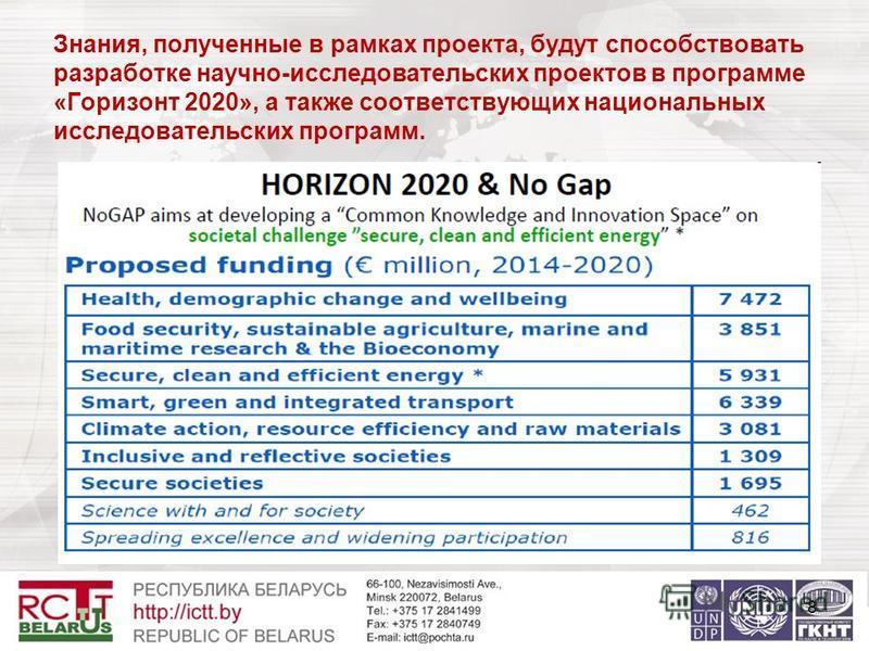 Знания, полученные в рамках проекта, будут способствовать разработке научно-исследовательских проектов в программе «Горизонт 2020», а также соответствующих национальных исследовательских программ. 8