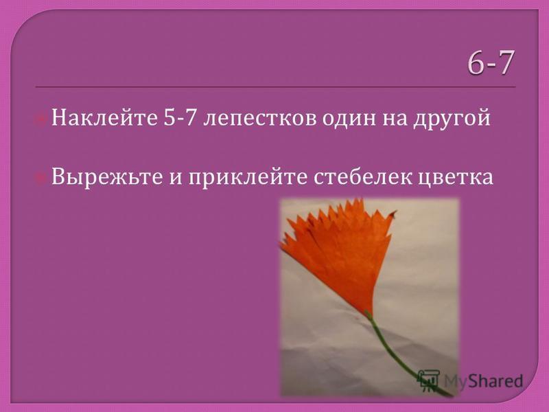Наклейте 5-7 лепестков один на другой Вырежьте и приклейте стебелек цветка
