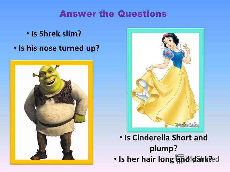 Is Shrek slim? Is Cinderella Short and plump? Is his nose turned up? Is her hair long and dark? Answer the Questions