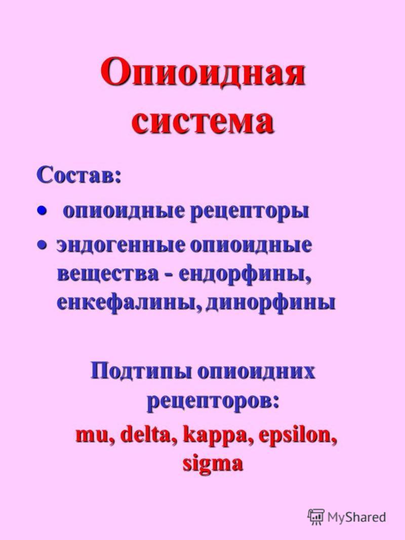 Опиоидная система Состав: опиоидные рецепторы опиоидные рецепторы эндогенные опиоидные вещества - эндорфины, энкефалины, динорфины эндогенные опиоидные вещества - эндорфины, энкефалины, динорфины Подтипы опиоидных рецепторов: mu, delta, kappa, epsilo