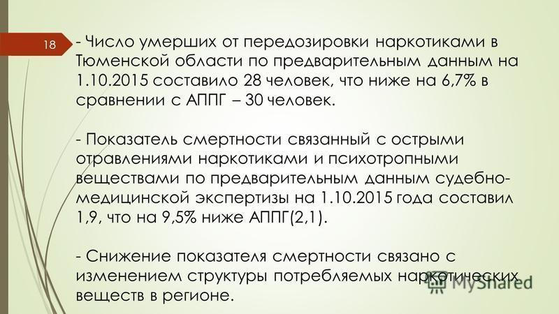 - Число умерших от передозировки наркотиками в Тюменской области по предварительным данным на 1.10.2015 составило 28 человек, что ниже на 6,7% в сравнении с АППГ – 30 человек. - Показатель смертности связанный с острыми отравлениями наркотиками и пси