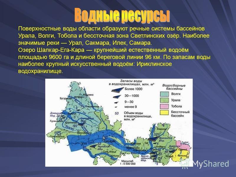 Поверхностные воды области образуют речные системы бассейнов Урала, Волги, Тобола и бессточная зона Светлинских озёр. Наиболее значимые реки Урал, Сакмара, Илек, Самара. Озеро Шалкар-Ега-Кара крупнейший естественный водоём площадью 9600 га и длиной б