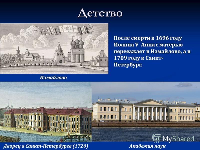 Детство Измайлово Дворец в Санкт-Петербурге (1720)Академия наук После смерти в 1696 году Иоанна V Анна с матерью переезжает в Измайлово, а в 1709 году в Санкт- Петербург.