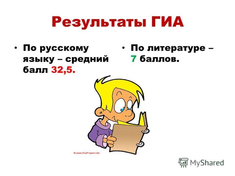 Результаты ГИА По русскому языку – средний балл 32,5. По литературе – 7 баллов.