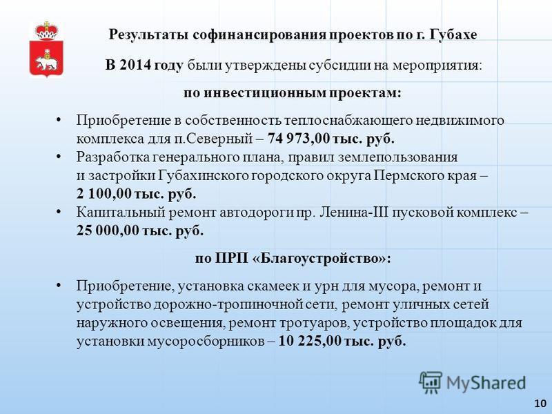10 В 2014 году были утверждены субсидии на мероприятия: по инвестиционным проектам: Приобретение в собственность теплоснабжающего недвижимого комплекса для п.Северный – 74 973,00 тыс. руб. Разработка генерального плана, правил землепользования и заст