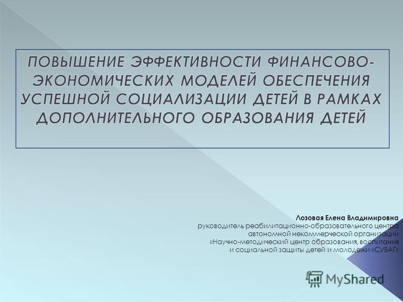 Лозовая Елена Владимировна руководитель реабилитационной-образовательного центра автономной некоммерческой организации «Научно-методический центр образования, воспитания и социальной защиты детей и молодежи «СУВАГ»