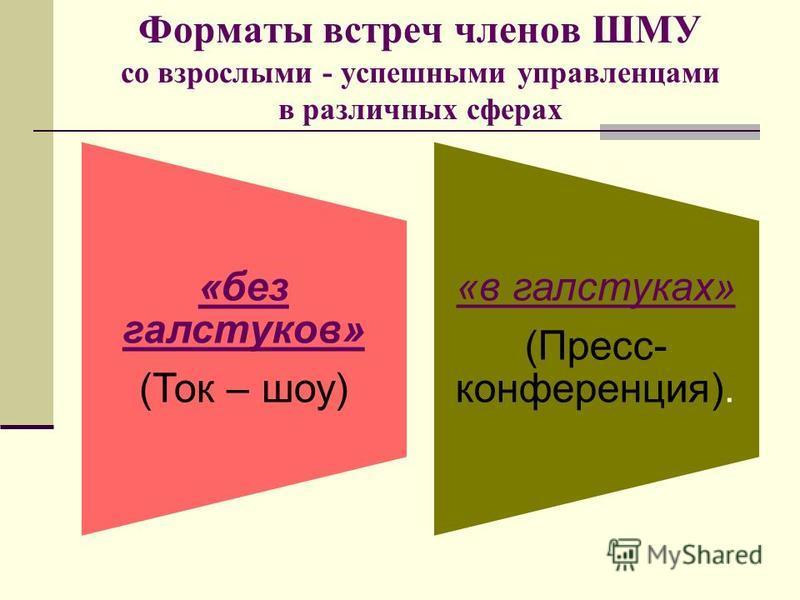 Форматы встреч членов ШМУ со взрослыми - успешными управленцами в различных сферах «без галстуков» (Ток – шоу) «в галстуках» (Пресс- конференция).