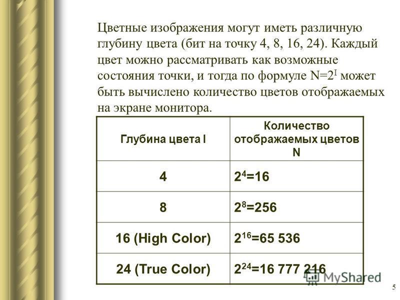 5 Цветные изображения могут иметь различную глубину цвета (бит на точку 4, 8, 16, 24). Каждый цвет можно рассматривать как возможные состояния точки, и тогда по формуле N=2 I может быть вычислено количество цветов отображаемых на экране монитора. Глу