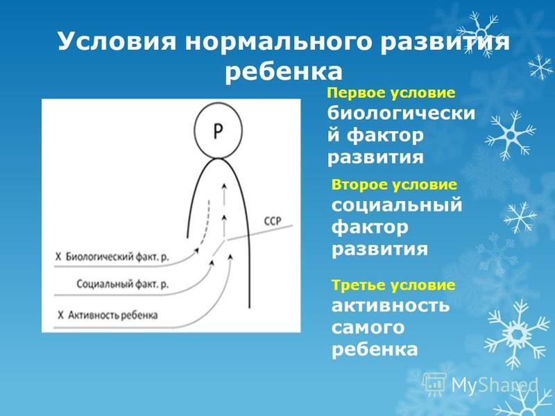 Условия нормального развития ребенка Первое условие биологический фактор развития Второе условие социальный фактор развития Третье условие активность самого ребенка