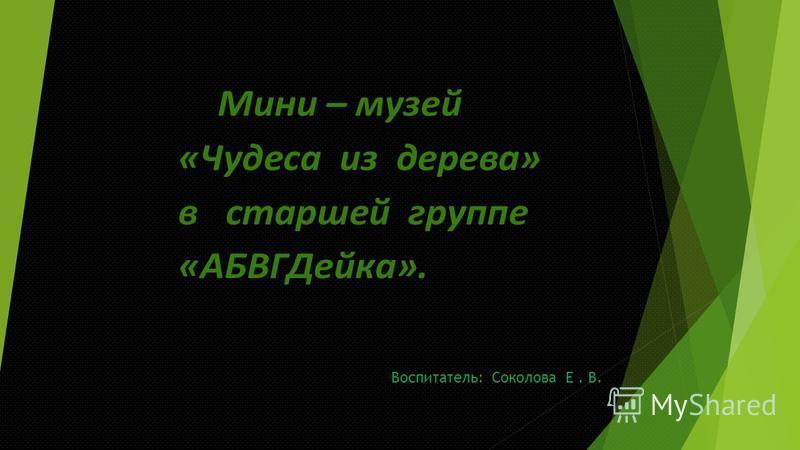 Воспитатель: Соколова Е. В.
