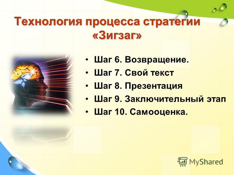 Технология процесса стратегии «Зигзаг» Шаг 6. Возвращение. Шаг 7. Свой текст Шаг 8. Презентация Шаг 9. Заключительный этап Шаг 10. Самооценка.