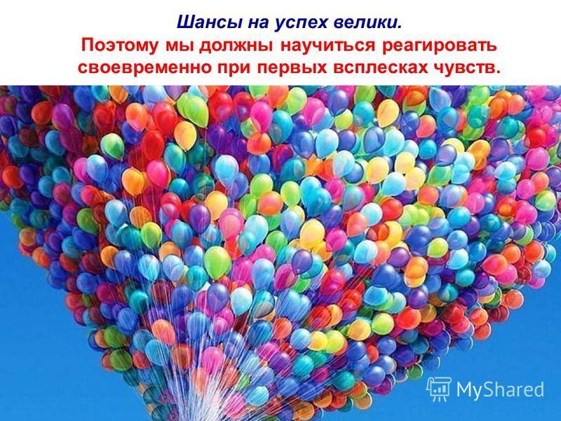 Шансы на успех велики. Поэтому мы должны научиться реагировать своевременно при первых всплесках чувств.