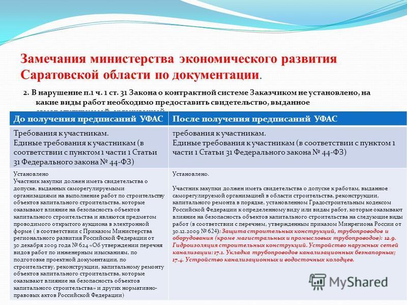 Замечания министерства экономического развития Саратовской области по документации. 2. В нарушение п.1 ч. 1 ст. 31 Закона о контрактной системе Заказчиком не установлено, на какие виды работ необходимо предоставить свидетельство, выданное саморегулир