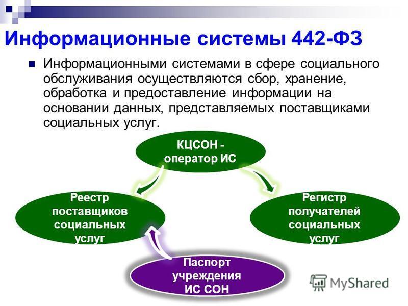 Информационные системы 442-ФЗ Информационными системами в сфере социального обслуживания осуществляются сбор, хранение, обработка и предоставление информации на основании данных, представляемых поставщиками социальных услуг. Реестр поставщиков социал