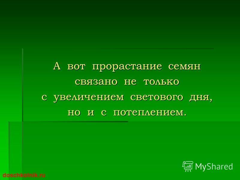 А вот прорастание семян связано не только с увеличением светового дня, но и с потеплением. doschkolnik.ru