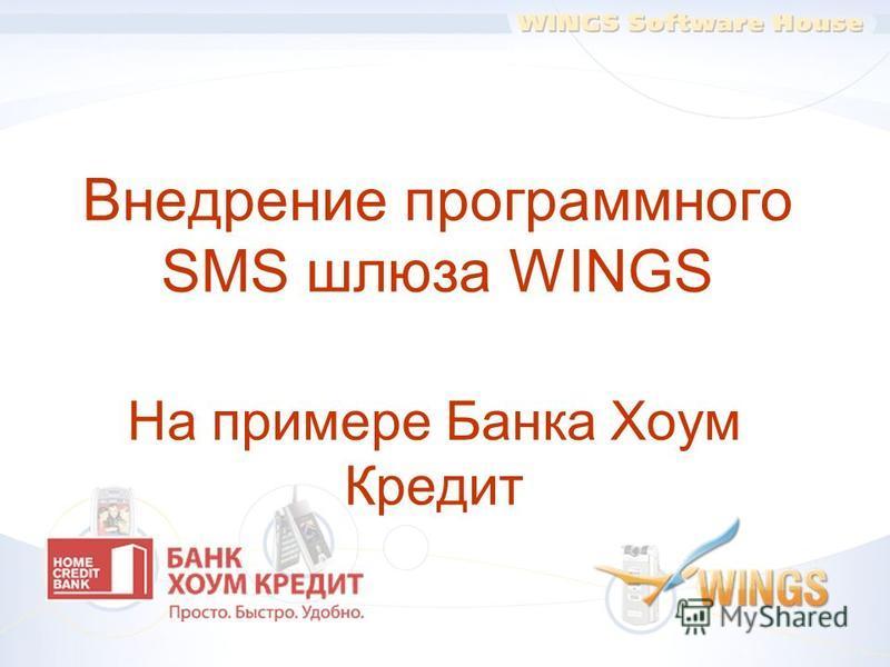 Внедрение программного SMS шлюза WINGS На примере Банка Хоум Кредит