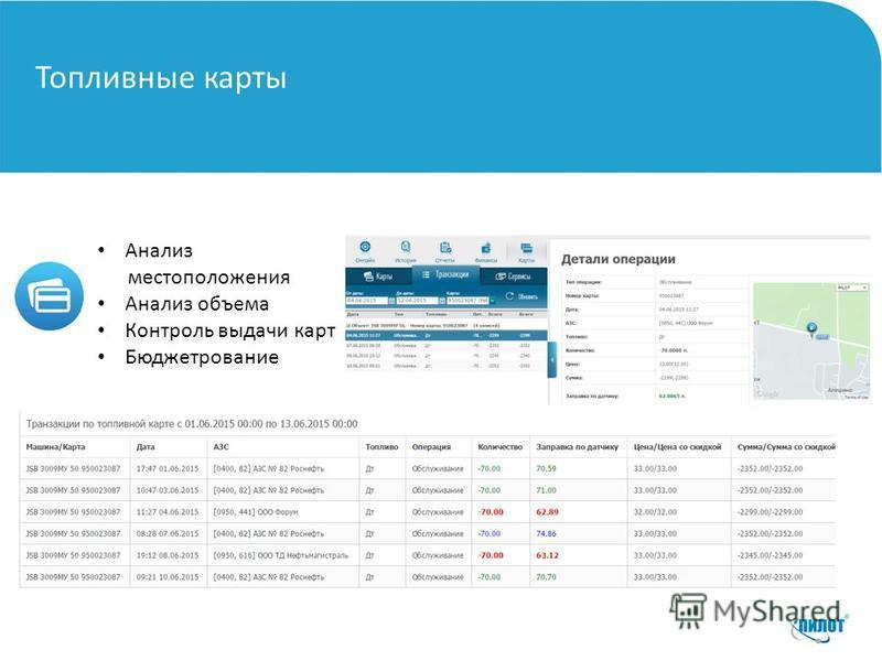 Топливные карты Анализ местоположения Анализ объема Контроль выдачи карт Бюджетрование