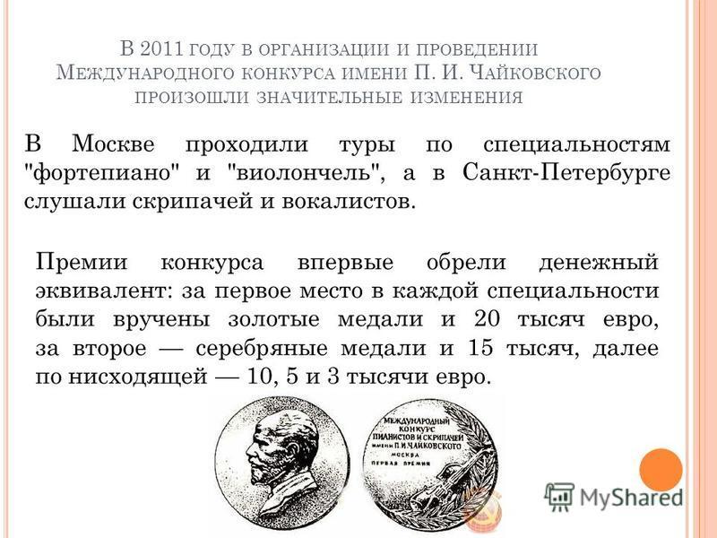 В 2011 ГОДУ В ОРГАНИЗАЦИИ И ПРОВЕДЕНИИ М ЕЖДУНАРОДНОГО КОНКУРСА ИМЕНИ П. И. Ч АЙКОВСКОГО ПРОИЗОШЛИ ЗНАЧИТЕЛЬНЫЕ ИЗМЕНЕНИЯ В Москве проходили туры по специальностям
