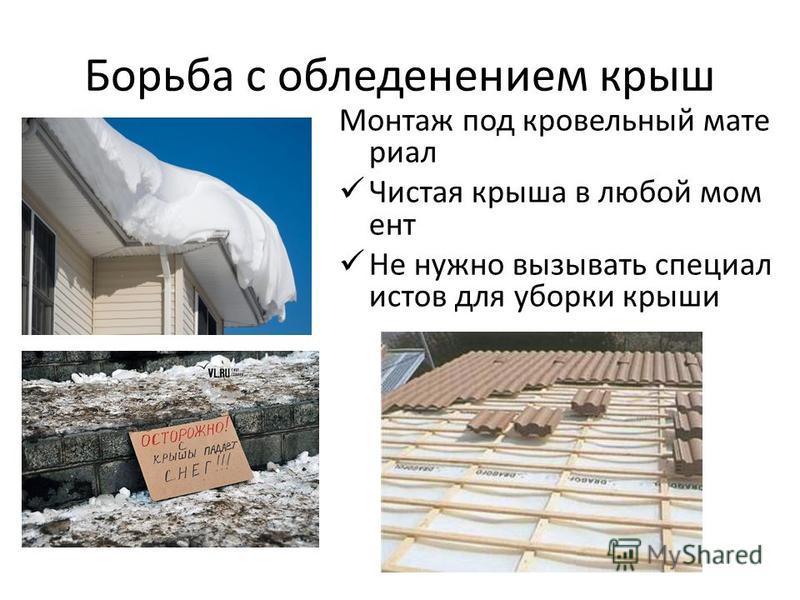 Борьба с обледенением крыш Монтаж под кровельный мате риал Чистая крыша в любой момент Не нужно вызывать специалистов для уборки крыши