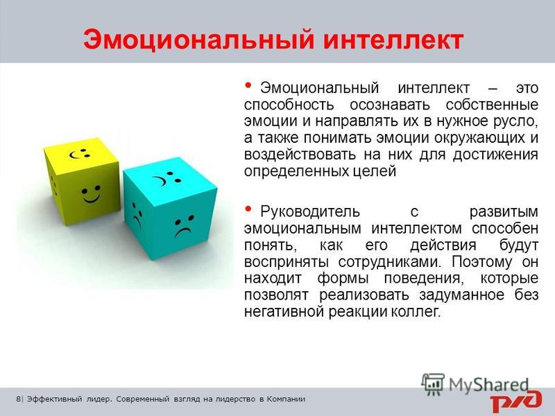 8 | Тема презентации | XX/ХХ/ХХ Эмоциональный интеллект – это способность осознавать собственные эмоции и направлять их в нужное русло, а также понимать эмоции окружающих и воздействовать на них для достижения определенных целей Руководитель с развит