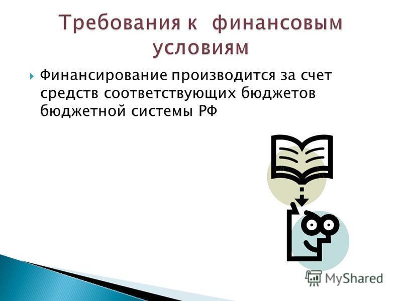 Финансирование производится за счет средств соответствующих бюджетов бюджетной системы РФ