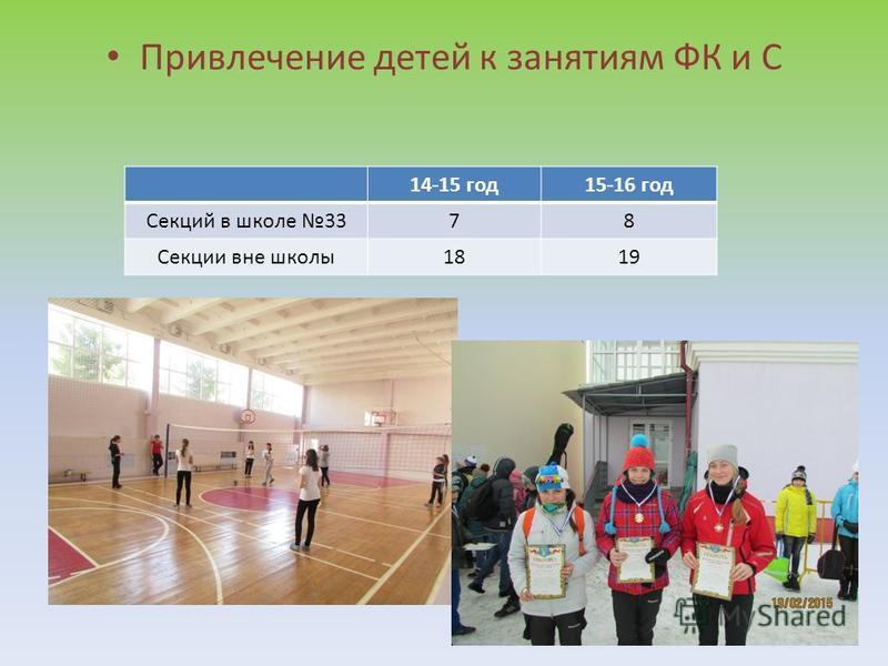 Привлечение детей к занятиям ФК и С 14-15 год 15-16 год Секций в школе 3378 Секции вне школы 1819